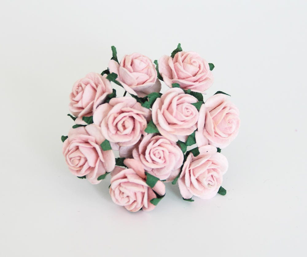 50 Pcs Peachy Pink Mulberry Paper Roses 2 Cm Roses Mulberry