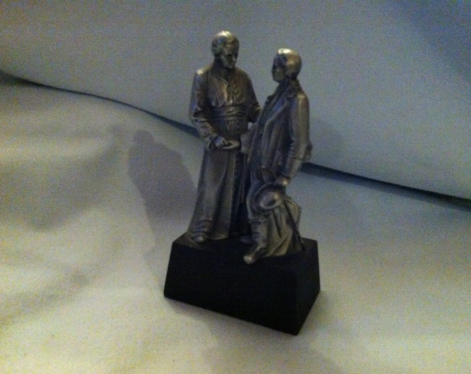 Vintage figurine statue people on base metal massive miniature decoration