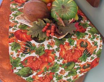"""54"""" or 72"""" Pumpkins and Gourds Table Runner Reversible Pumpkin Table Runner Thanksgiving Table Runner Autumn Table Runner Fall Table Runner"""