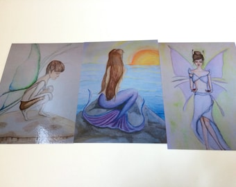 Set of 3 Postcards, Fairy, Mermaid, Fantasy prints of my watercolor, high gloss