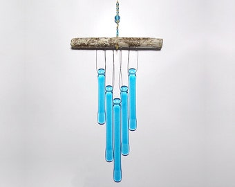 Sky Blue Wind Chime, Glass Windchime, Glass Chimes, Cyan Wind Chime, Driftwood, Glass Wind Chime