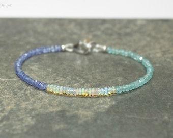 Tanzanite, Apatite & Welo Opal Bracelet, Opal Jewelry, Gemstone Bracelet, October Birthstone