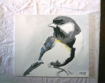 Original Great tit signed Acrylic painting 50cm x 60cm