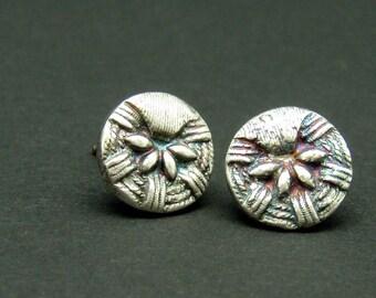 Fine Silver Post Button Earrings - Ida