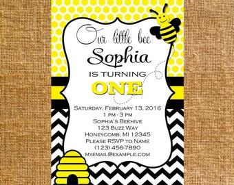 Customized Little Bee Birthday Party Invite - Digital File
