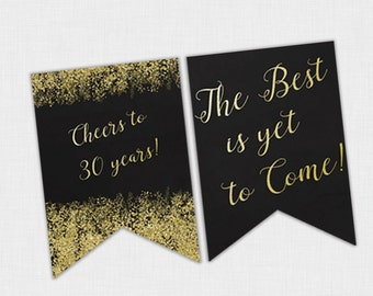 Confetti Birthday Banner, Black and Gold birthday, 30th Birthday Party, 30th Birthday Banner, Elegant Glitter Party Decorations