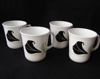 """Vintage Corelle Black Orchid 4 Mugs EUC Corning 3 1/2"""" Floral"""