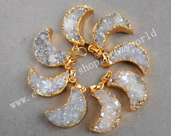 Wholesale Gold Plated Natural Agate Titanium AB Druzy Moon Pendant Bead Natural Titanium Drusy Pendant Crescent Geode Gemstone Jewelry G0388