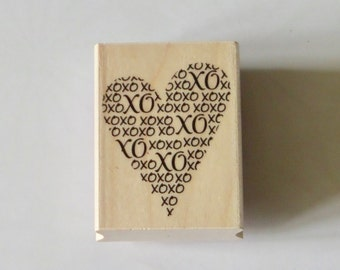 Heart Rubber Stamp, Wood Mounted, XOXO, Valentine, Love, Wedding