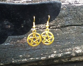 "Gold Pentacle Earrings ""No Fuss, Just Pentacles"""
