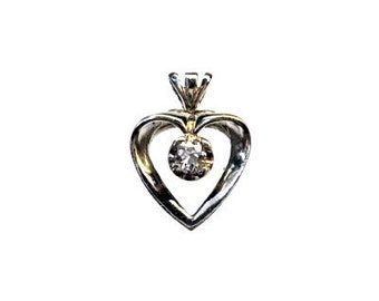 Vintage Pendant, 14 Karat, White Gold, Diamond Heart, Estate Jewelry