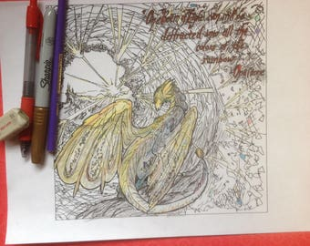 Dragon Coloring Pages For Adults Pdf : Dragon coloring etsy