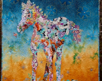QUILT Wall Hanging Sun Blossom Pony Blue Gold Hand Dyed Fabric  Horse Foal Colt Pinto Beaded