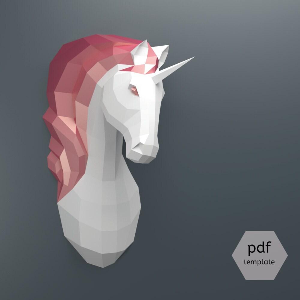 pdf unicornio patr n papercraft hacer tu propio trofeo de. Black Bedroom Furniture Sets. Home Design Ideas