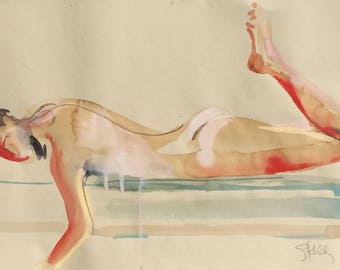 Nude painting- Original watercolor painting of Nude #1448 by Gretchen Kelly