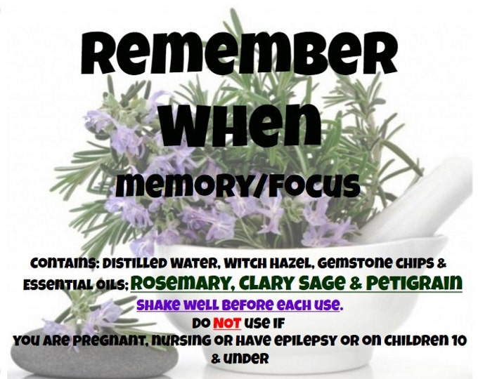 Remember When Mental Focus Memory Spray rmbr031 Rosemary Petegrain Clary Sage