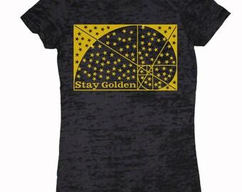 Women's STAY GOLDEN Sacred Geometry Tee Fibonacci Sequence Golden Ratio T-shirt
