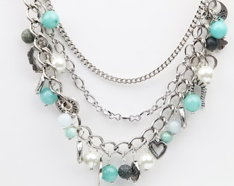 Multistrand Gemstone and Charm necklace