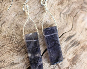 Simple Geometry Iolite Earrings