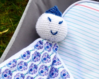 Princess toy, Amigurumi and fabric cotton blue and white pattern, crochet baby blanket