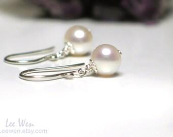 Petite Pearl Earrings | 6mm White Freshwater Pearl Dangles | Sterling Silver | Wedding Jewelry | Birthday Gift | Everyday Pearl Earrings