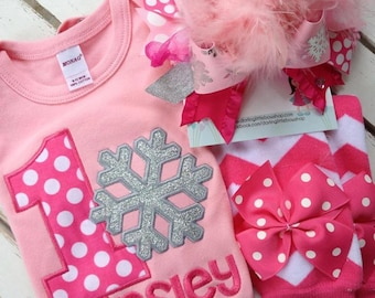Baby Girl First Birthday Outfit -- Winter ONEderland -- long sleeve bodysuit, leg warmers, Over The Top bow in pink and silver,Snowflakes