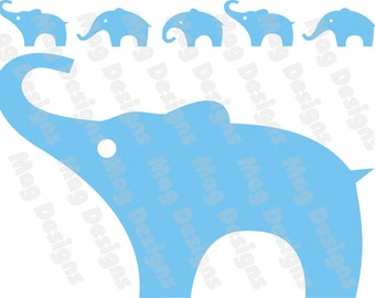Vinyl Elephants - Light Blue or your color choice - No.3