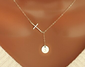 Sterling silver necklace, Sterling silver Cross lariat with initial disc charm, personalized monogram letter