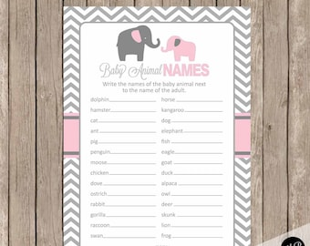 Pink and gray baby animal name game, elephant animal name game, elephant baby shower game, pink and grey baby shower activity, pe1
