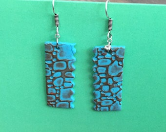 summer earrings-danglings-textured earrings-polymer clay-blue/orange earrings- casual earrings-bright earrings-lightweight earrings-handmade