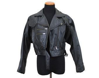 Vintage 80s Black Leather Jacket S/M - Vtg Wilsons Leather Jacket - Women's Black Motorcycle Jacket Black Leather Jacket Small Medium Crop