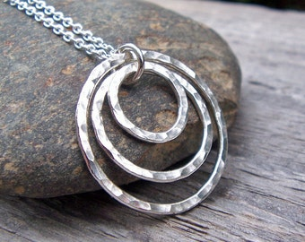 3 Circle Necklace, Silver Circle Necklace, Sterling Silver, 3 Hammered Rings, Concentric Circles, Gift for 30th Birthday, Sisters, Under 50