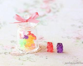 Dollhouse Miniature Food - Gummy Bears in Candy Jar