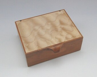 """H760 - Hinged Wooden Box - quilted maple and cherry - 5 3/4""""l x 4 1/2""""w x 1 5/8""""t"""