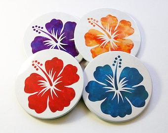 Hibiscus Coasters, Flower Coasters, Drink Coasters, Coasters, Barware, Hibiscus, Hawaii Coasters, Floral, Hostess Gift (5087)