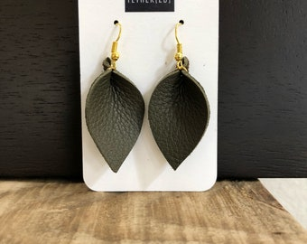 Olive green (xsmall) leather leaf earrings
