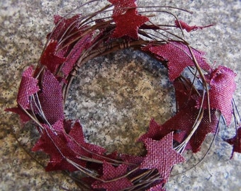 7in Burlap Star Burgundy Candle Ring.