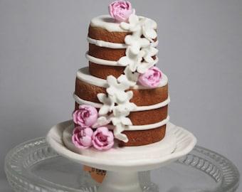 Wedding Cake Mini Replica Custom Ornament - Replica Cake - Wedding Gift - First Anniversary - Newlyweds Gift - Clay Ornament Shop (NP)