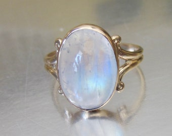 Antique Victorian Rainbow Moonstone Engagement Ring 10K. June Birthstone