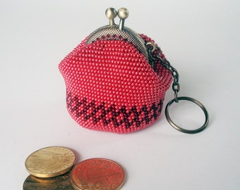 Coin Purse Beaded Accessory Keychain on the bag with Vintage Style Metal Frame Set