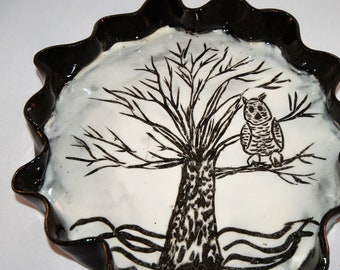 Ceramic Hand Carved Serving Tray, Owl In Tree On Tray, Black & White Tray, Cheese Tray, Crisp Vegetable Tray, Pottery Tray, Circle Dish
