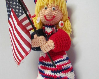 Crochet Amigurumi 4th Of July Doll~Patriotic Doll~Holiday~Miss 4th of July Crochet Doll~Holiday Decoration~4th July Decoration~Party Decor