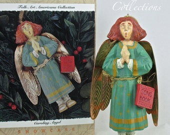 1996 Hallmark Caroling Angel Ornament Folk Art Americana Collection Showcase Keepsake Brass Wings