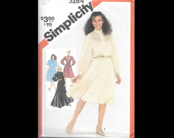 1981 Simplicity Misses' Pullover Dress in Two Lengths Pattern 5284 - Vintage Sewing Pattern - UNCUT - Women Misses Size 12 - Fashion DIY