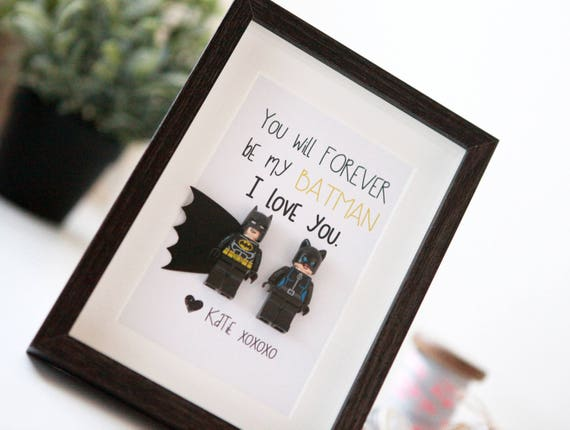 Personalised Batman Gifts lego frame Wonder Woman Birthday