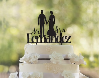 Wedding Cake Topper- Silhouette Cake Topper- Customizable Wedding Cake Topper- Cake Topper for Wedding- Personalized Cake Topper-Cake topper