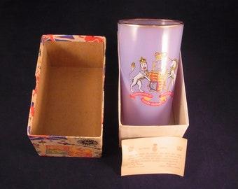 Queen Elizabeth Coronation Glass Beaker in original Presentation Box II 1953 Coronation School Presention Souvenir Beaker in original Box