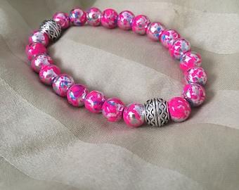Hot Pink Silver energy Bracelet