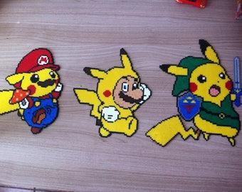 Pixel Art / Perler Beads Pikachu and Mario costume