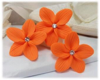 Orange Hair Flowers - Orange Flower Hair Pins, Orange Wedding Hair Flowers